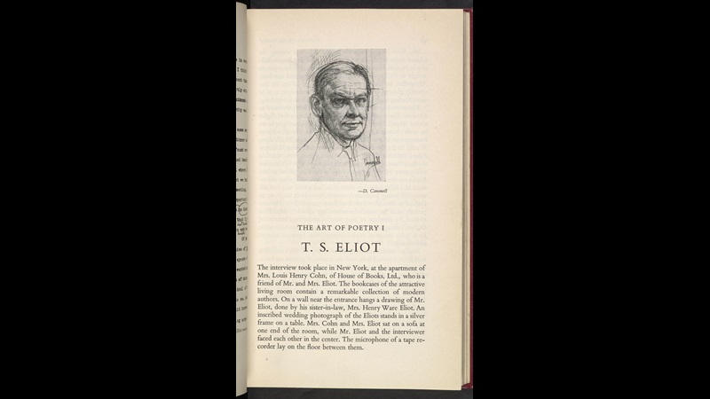 Interview with T S Eliot from the Paris Review, 1959