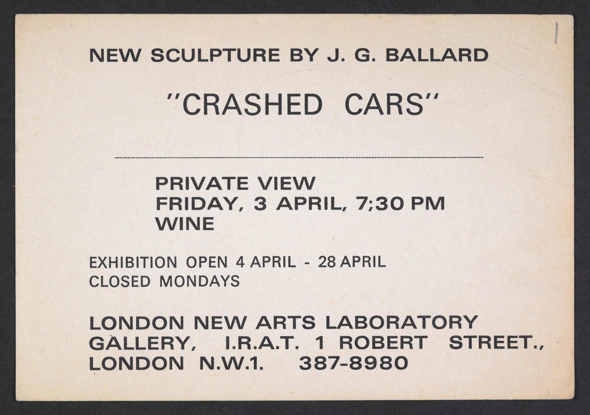 Invitation card to J G Ballard's 'Crashed Cars' exhibition, 3 April 1970