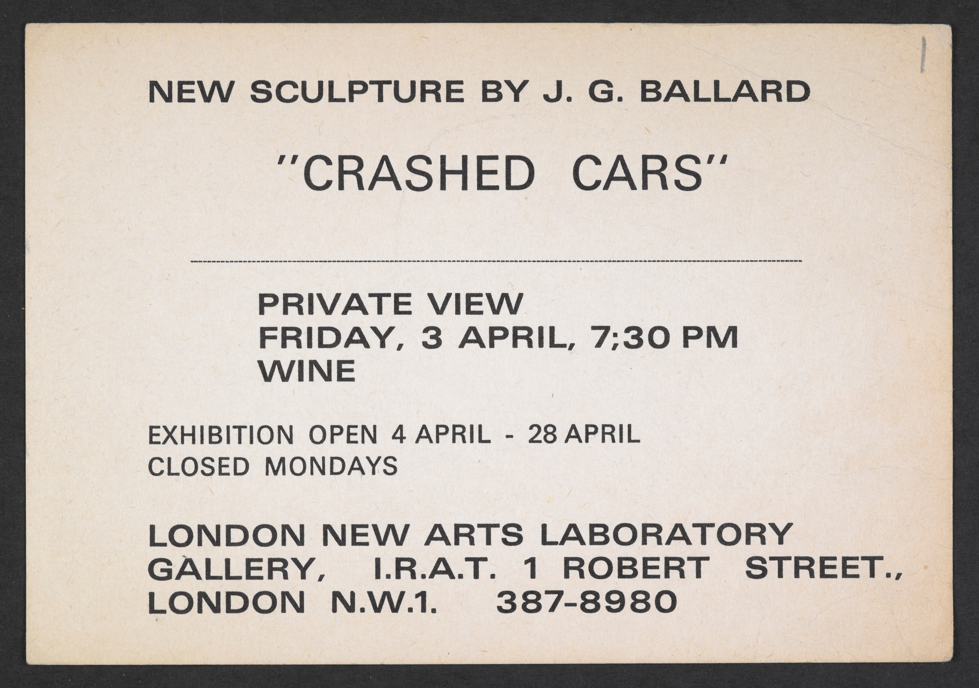 Invitation card to J G Ballard's 'Crashed Cars' exhibition, 3 April 1970