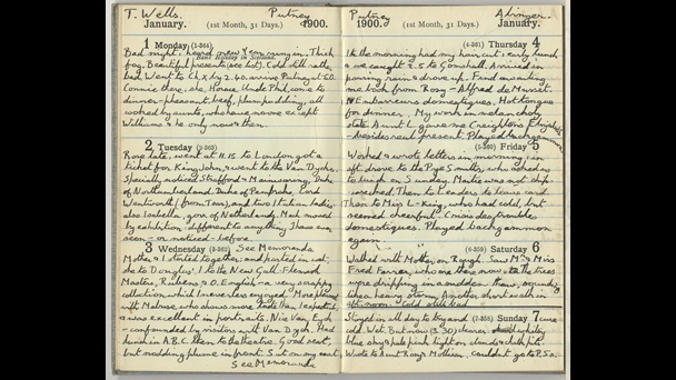 Double lined page from E M Forster's diary for January 1900, with handwritten entries