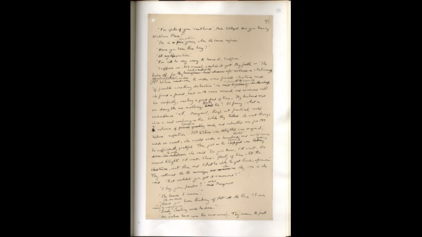 Page from E M Forster's handwritten draft of Howards End, with some crossings out