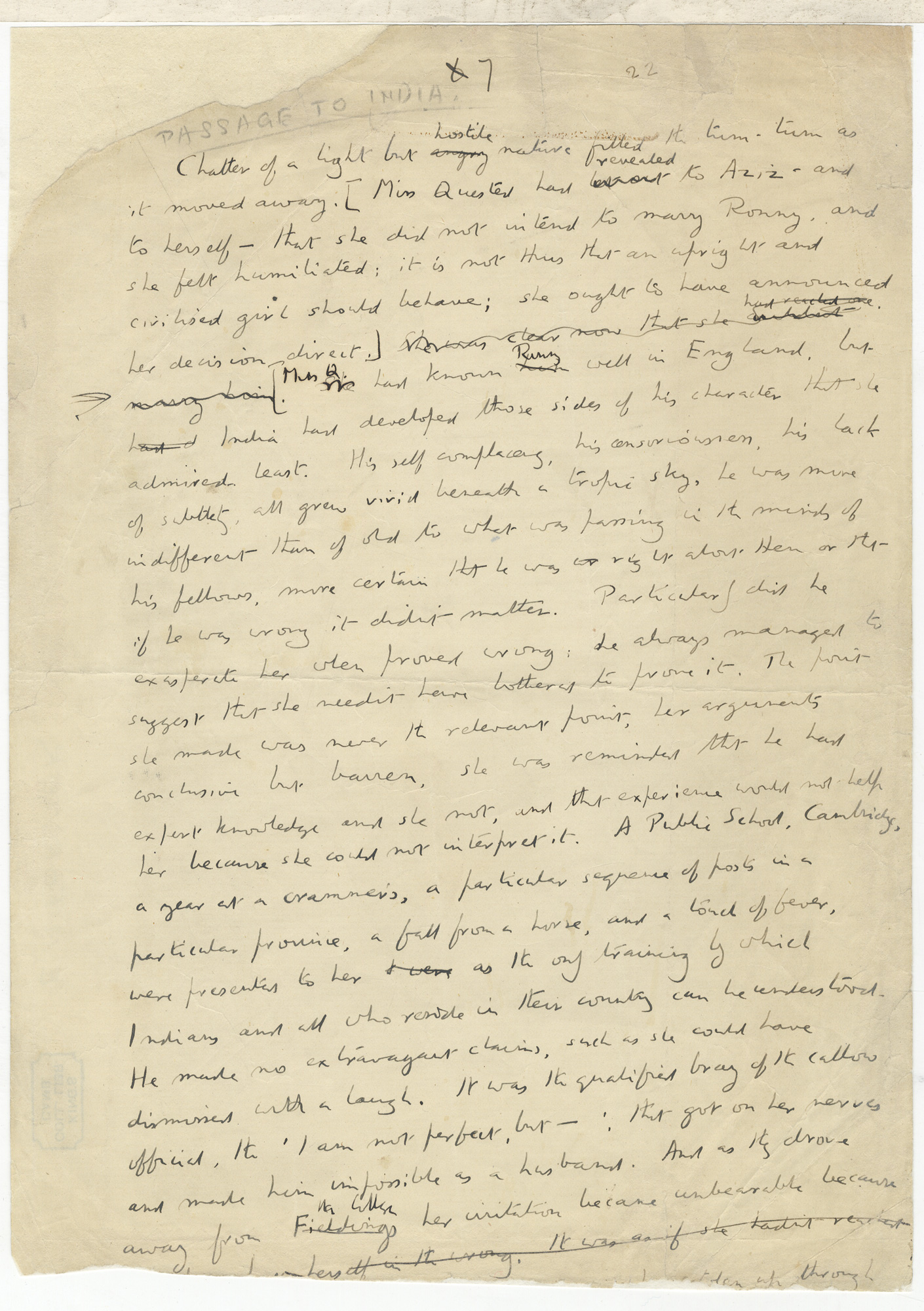 Fragments of a draft for A Passage to India
