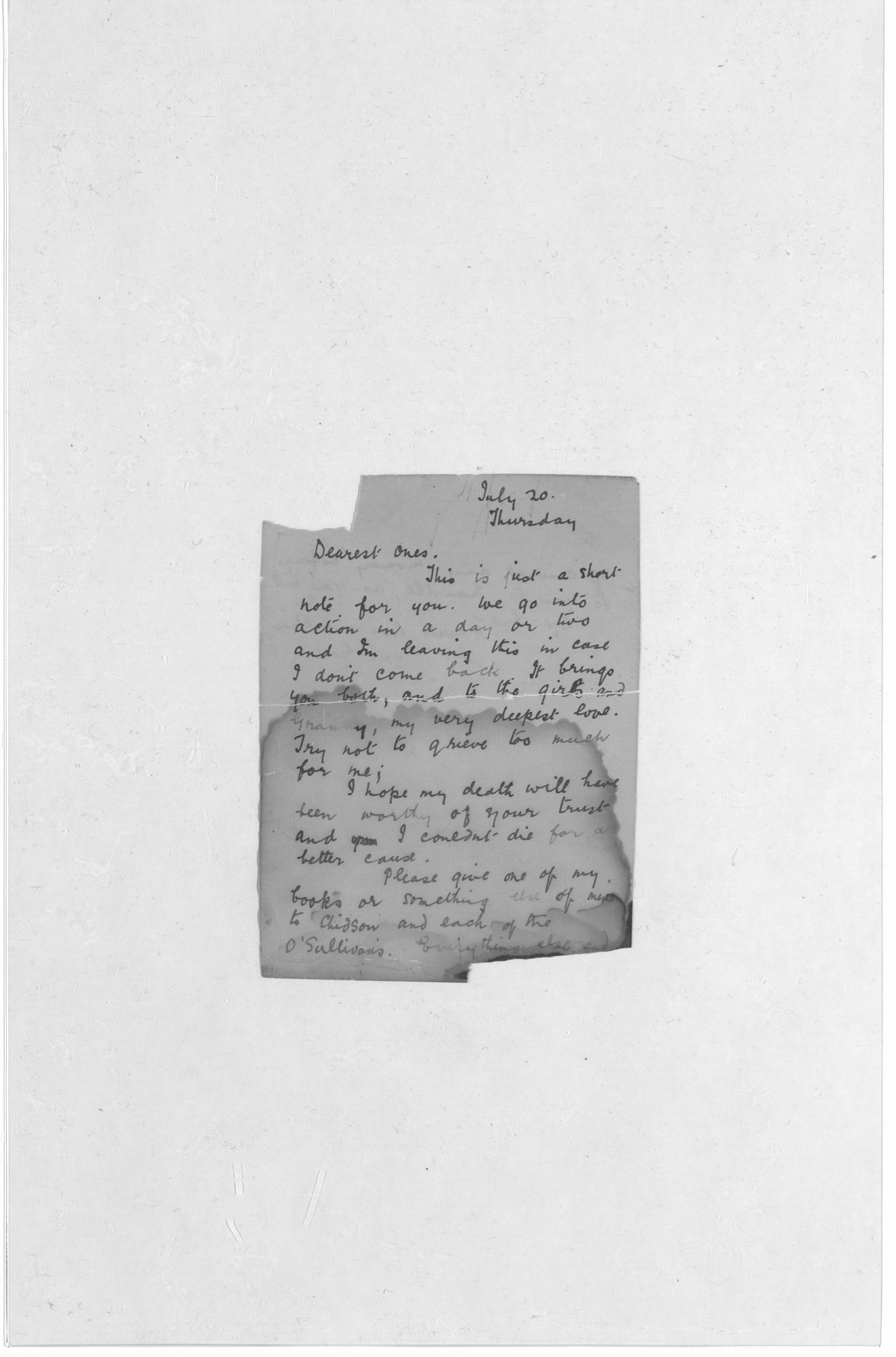 Last letter of Roland Gerard Garvin, 20 July 1916