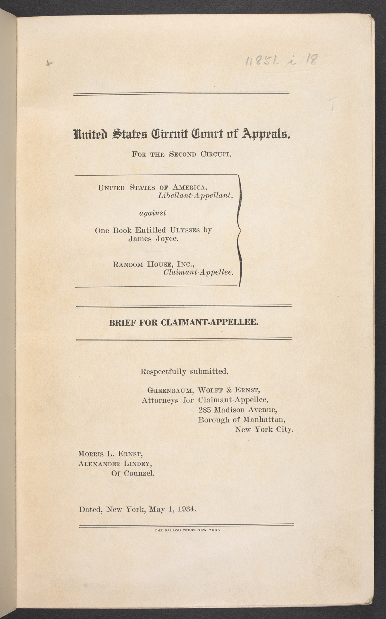 Legal notes prepared for United States v. One Book Entitled Ulysses, 1934
