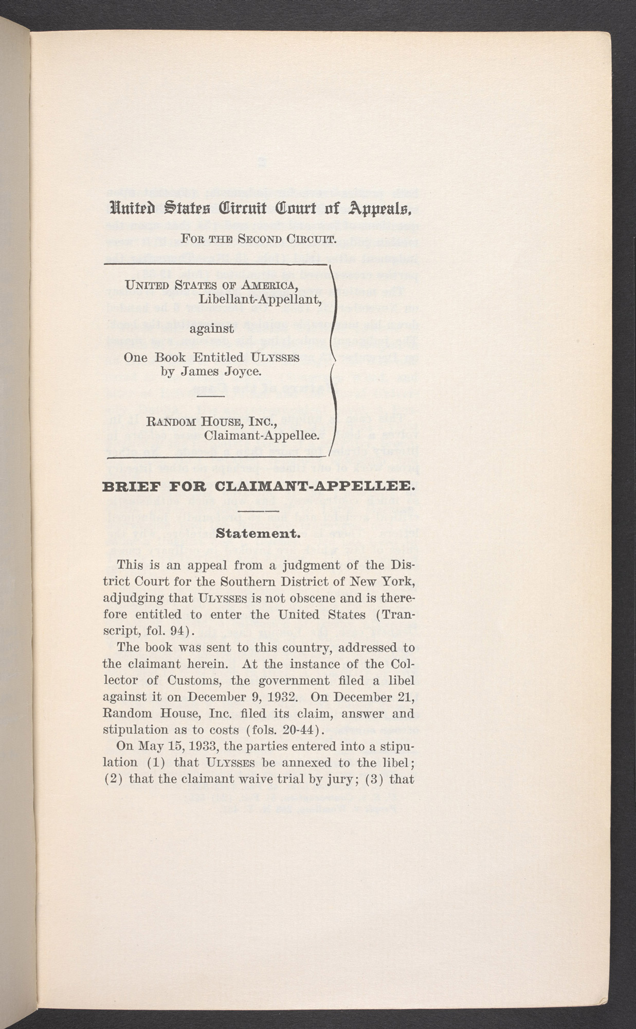 Legal notes prepared for United States v. One Book Entitled Ulysses, 1934