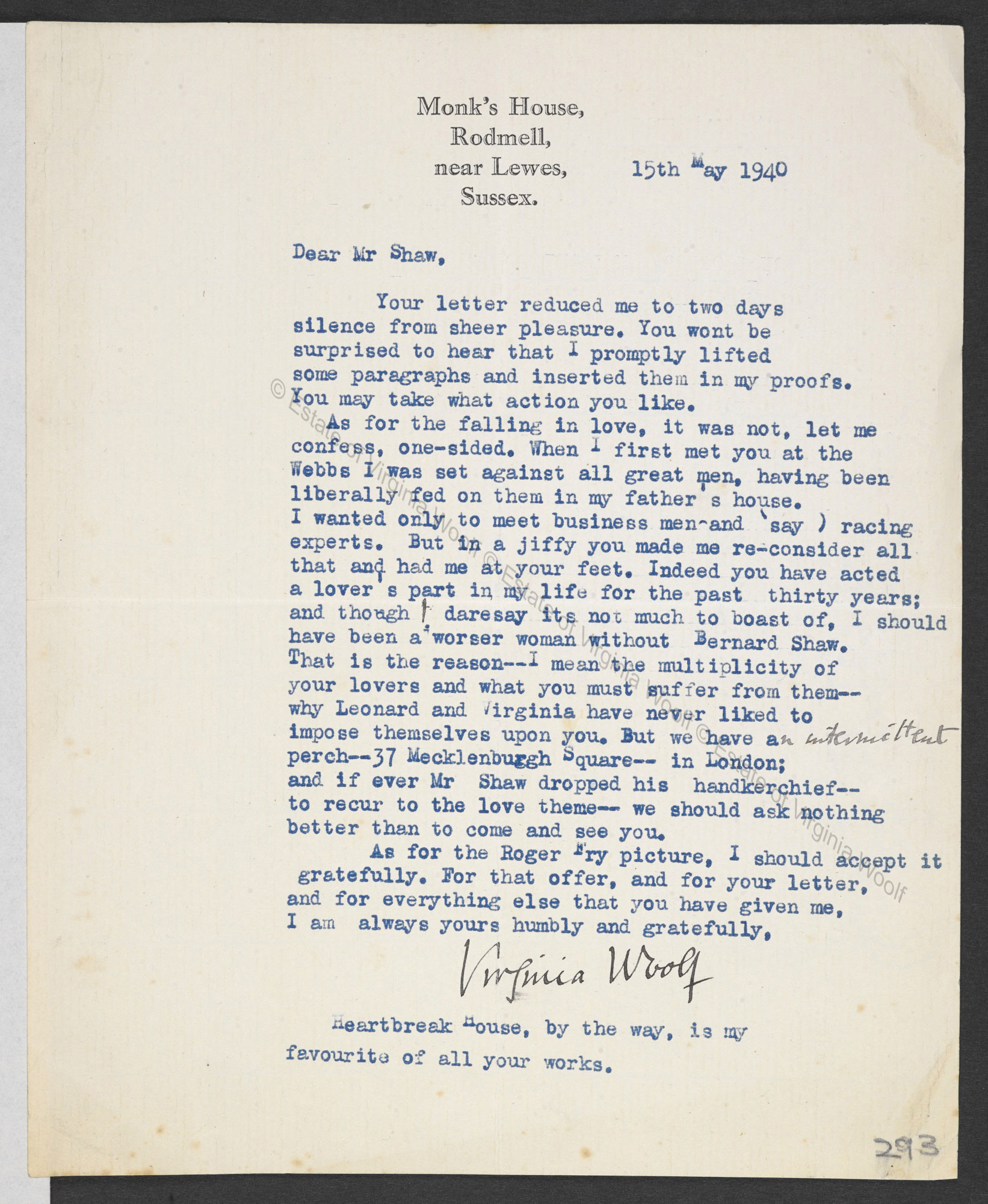 Letter And Postcard From Virginia Woolf To George Bernard Shaw 1940 The British Library
