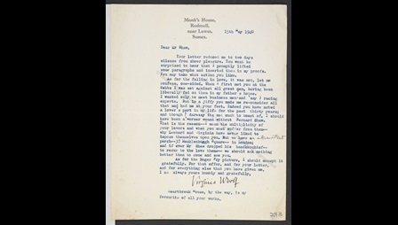 Letter and postcard from Virginia Woolf to George Bernard Shaw, 1940