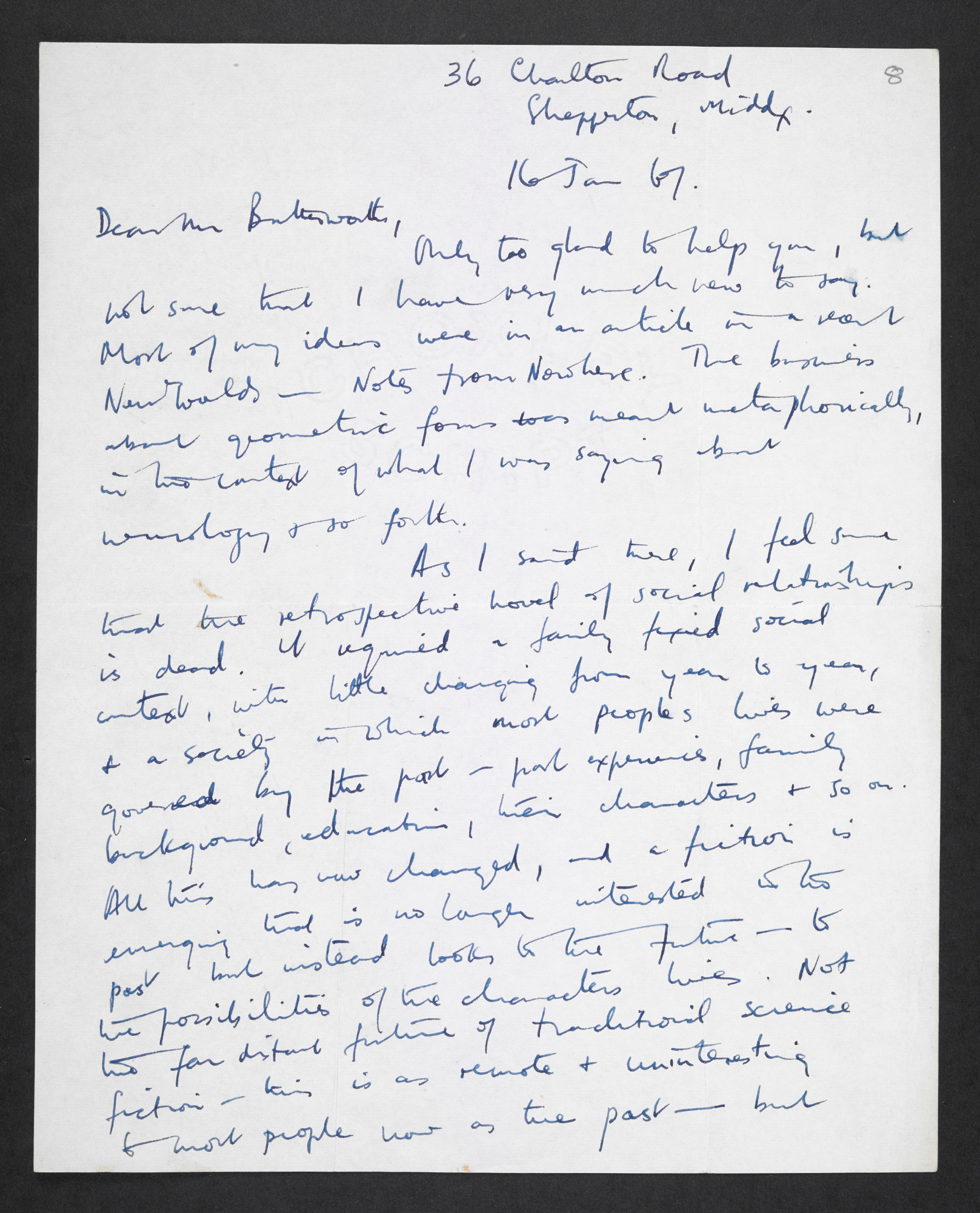 Letter from J G Ballard to Michael Butterworth about the future of fiction, 16 January 1967