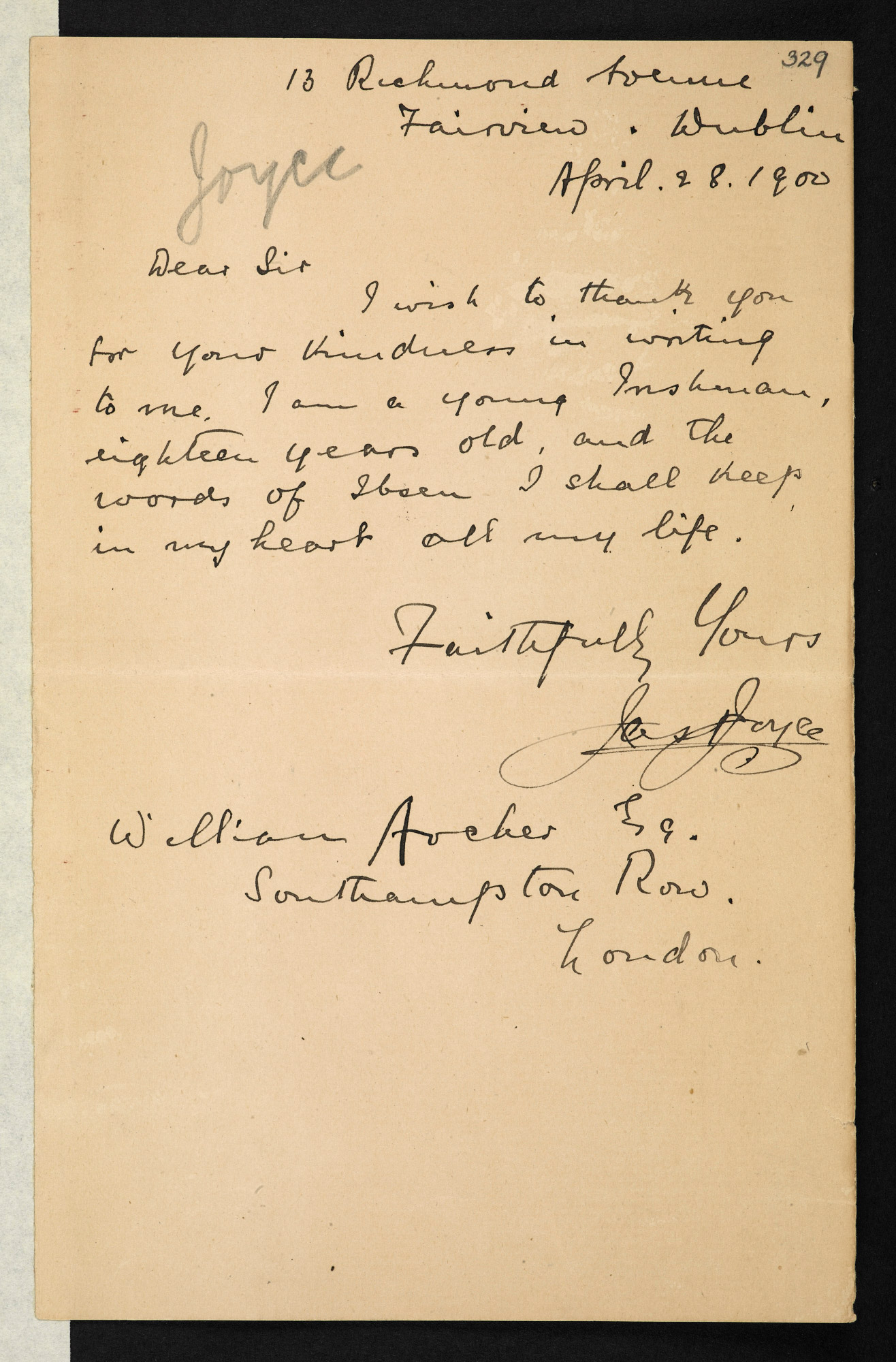 Letter from James Joyce, aged 18, about Ibsen, 28 April 1900