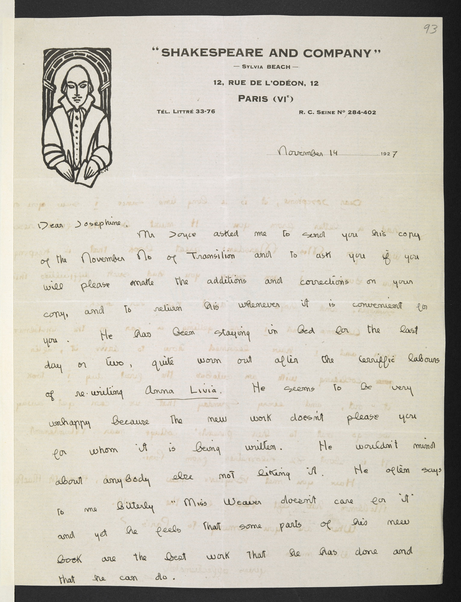 Letter from Sylvia Beach to Harriet Shaw Weaver about James Joyce and Finnegans Wake
