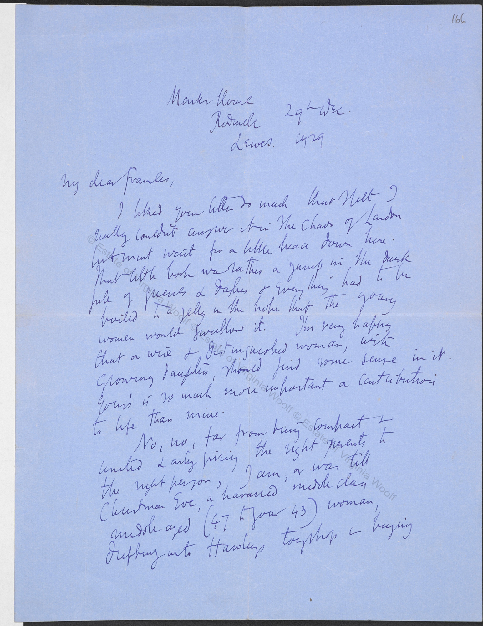 letter from virginia woolf to frances cornford about a room of one s