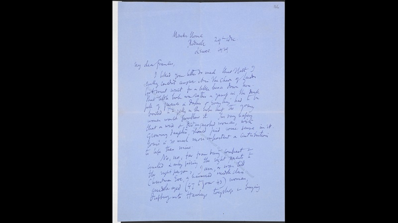 Letter from Virginia Woolf to Frances Cornford about A Room of One's Own, 1929