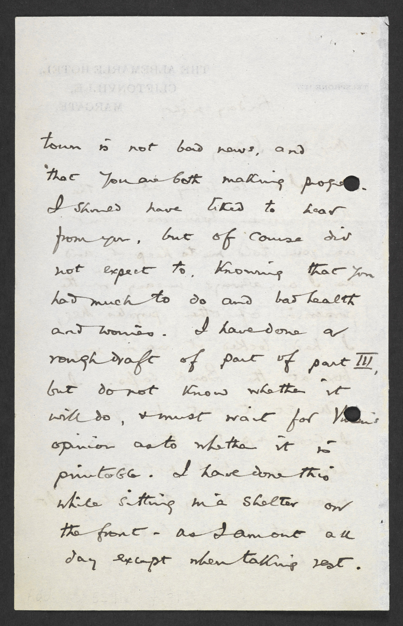 Letters from T S Eliot and Vivienne Eliot relating to The Waste Land
