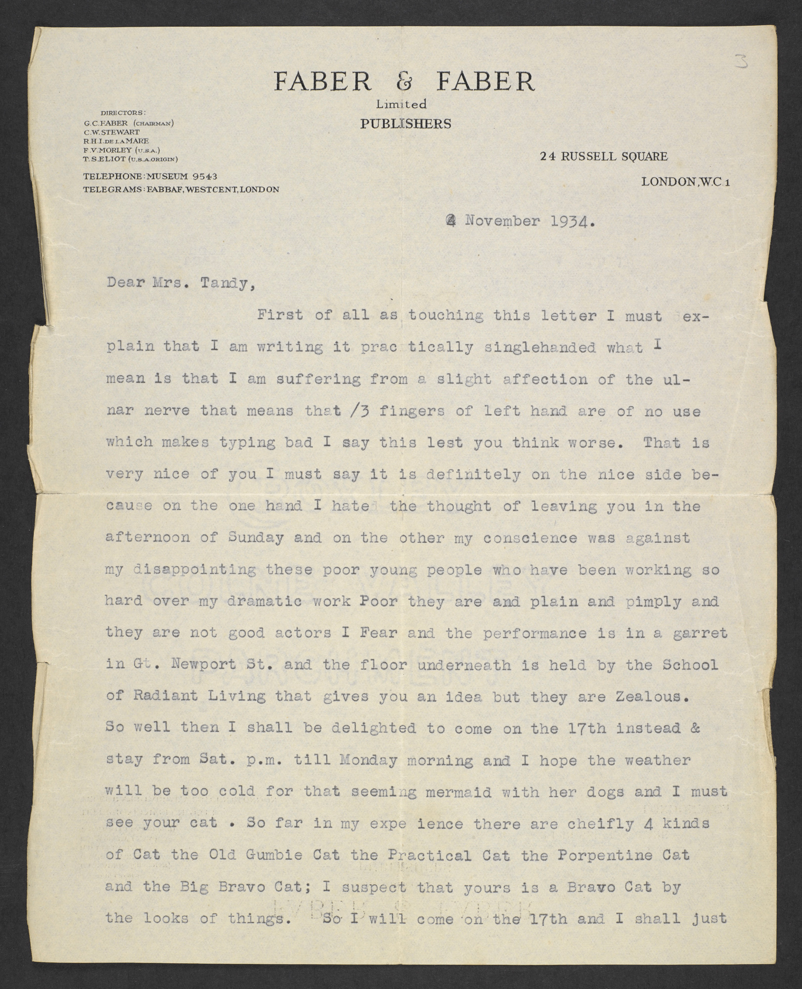 Letters from T S Eliot to the Tandy family, with drafts of his cat poems