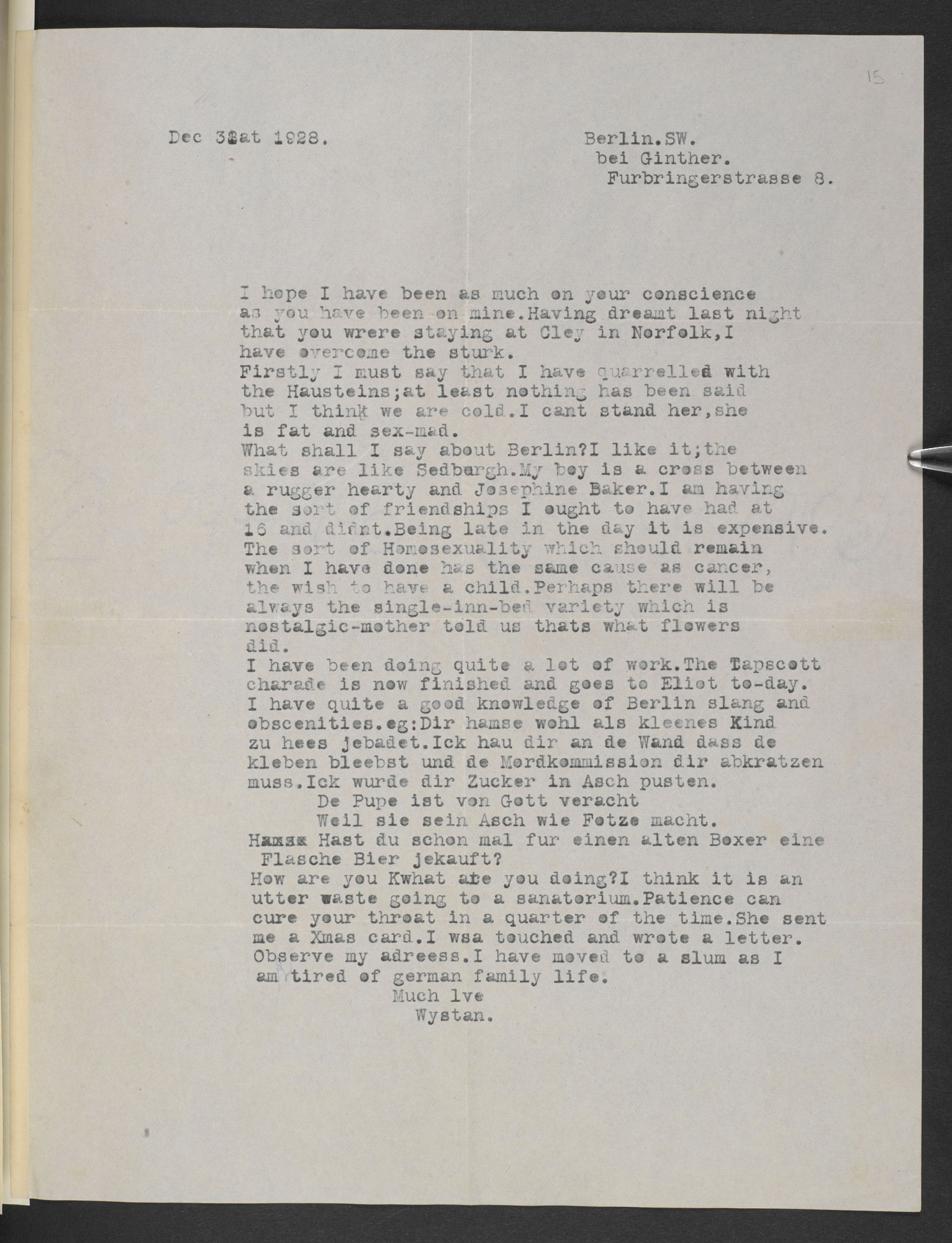 Letters from W H Auden to William L McElwee and his wife Patience McElwee, 1927-1929