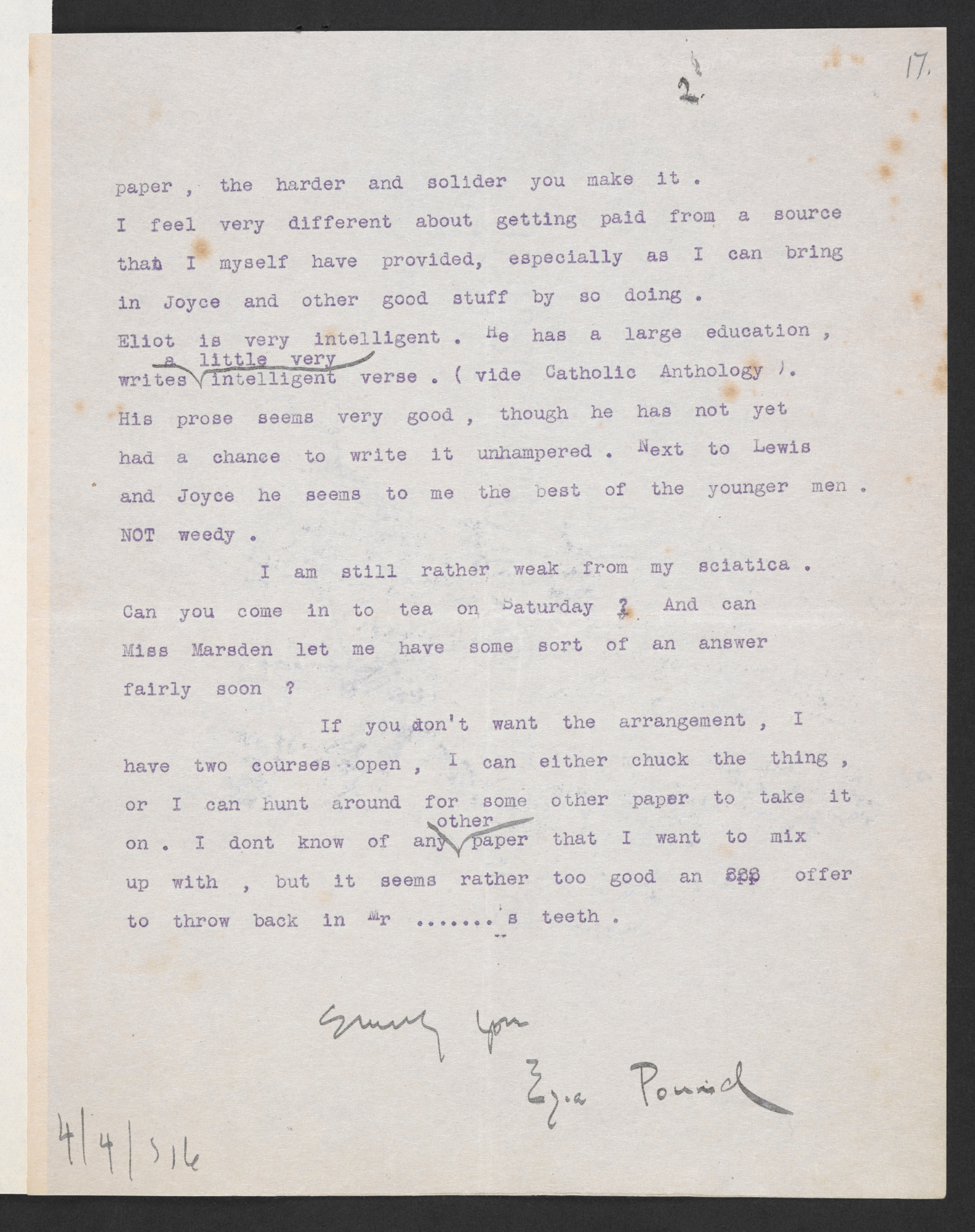 Manuscript drafts of A Portrait of the Artist as a Young Man and Ulysses by James Joyce