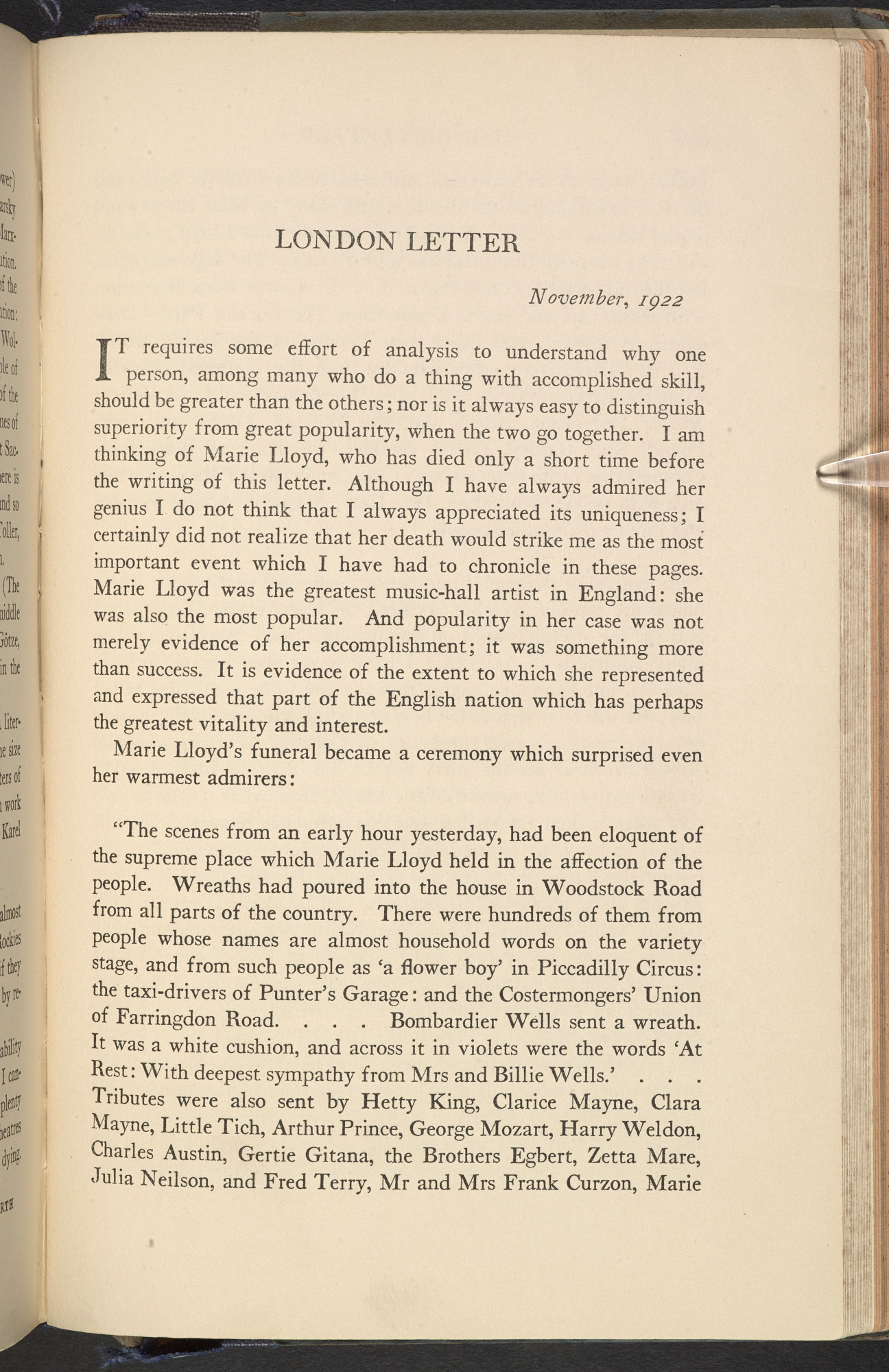 London Letter' by T S Eliot, published in The Dial