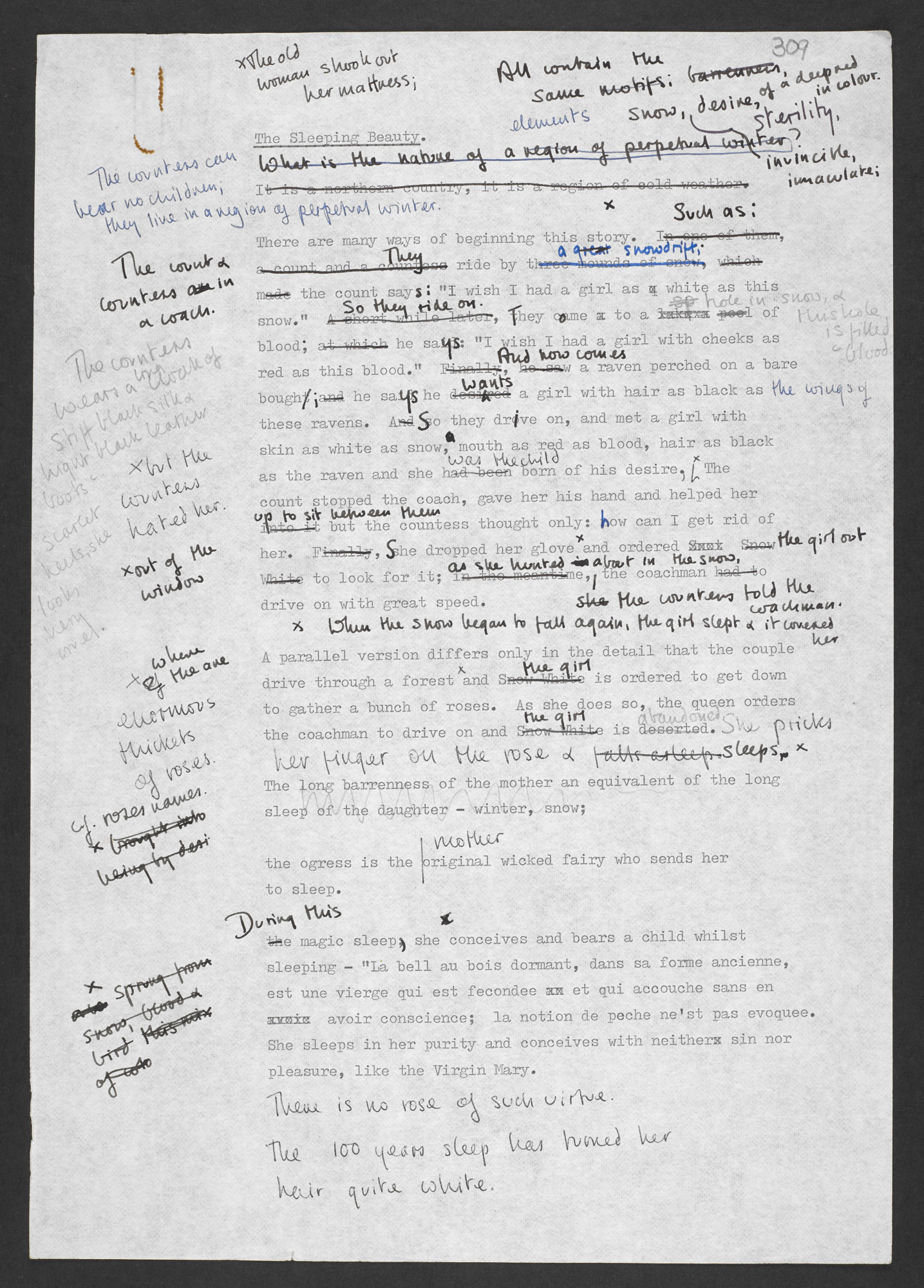 Manuscript notes and drafts of stories from The Bloody Chamber by Angela Carter