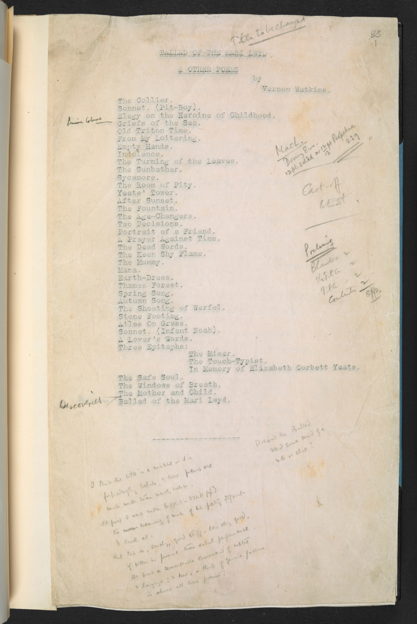 Manuscript draft of 'The Ballad of the Mari Lwyd' by Vernon Watkins, with annotations by T S Eliot