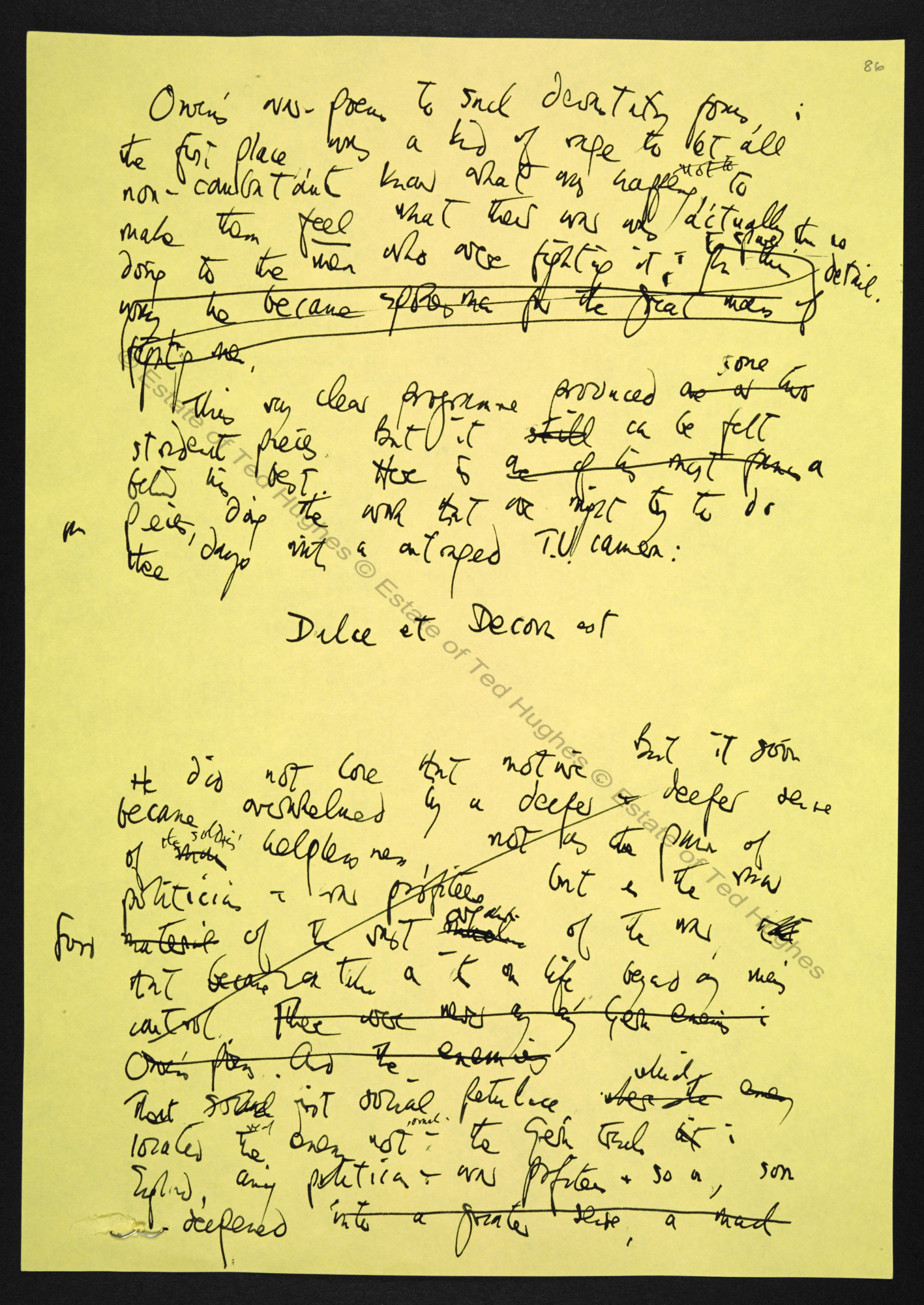 Manuscript draft reviews by Ted Hughes on Shamanism and Wilfred Owen