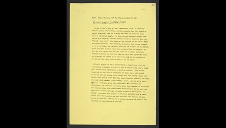 Manuscript drafts of 'Alison's giggle' and an article on Edgar Allen Poe by Angela Carter