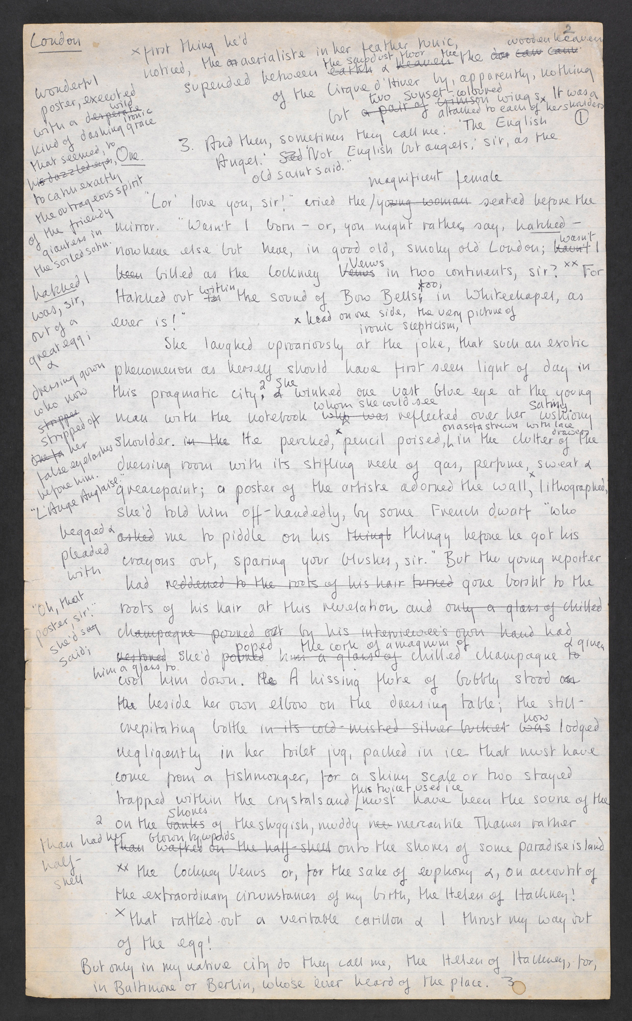 Manuscript drafts of Nights at the Circus by Angela Carter, Part One
