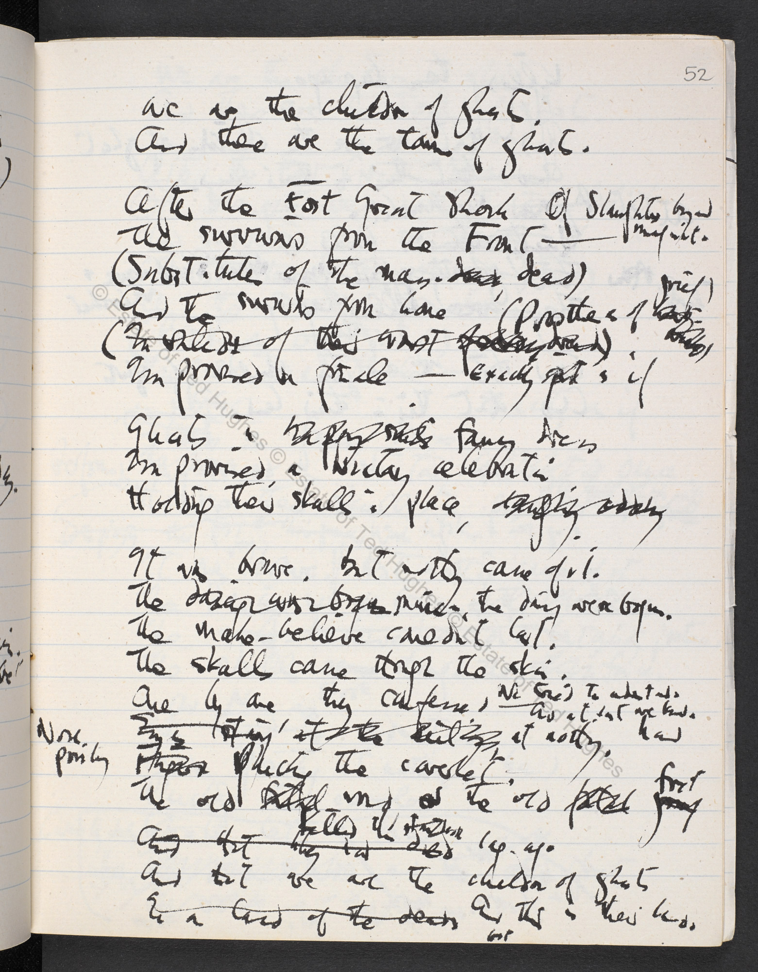 Manuscript drafts relating to Remains of Elmet by Ted Hughes