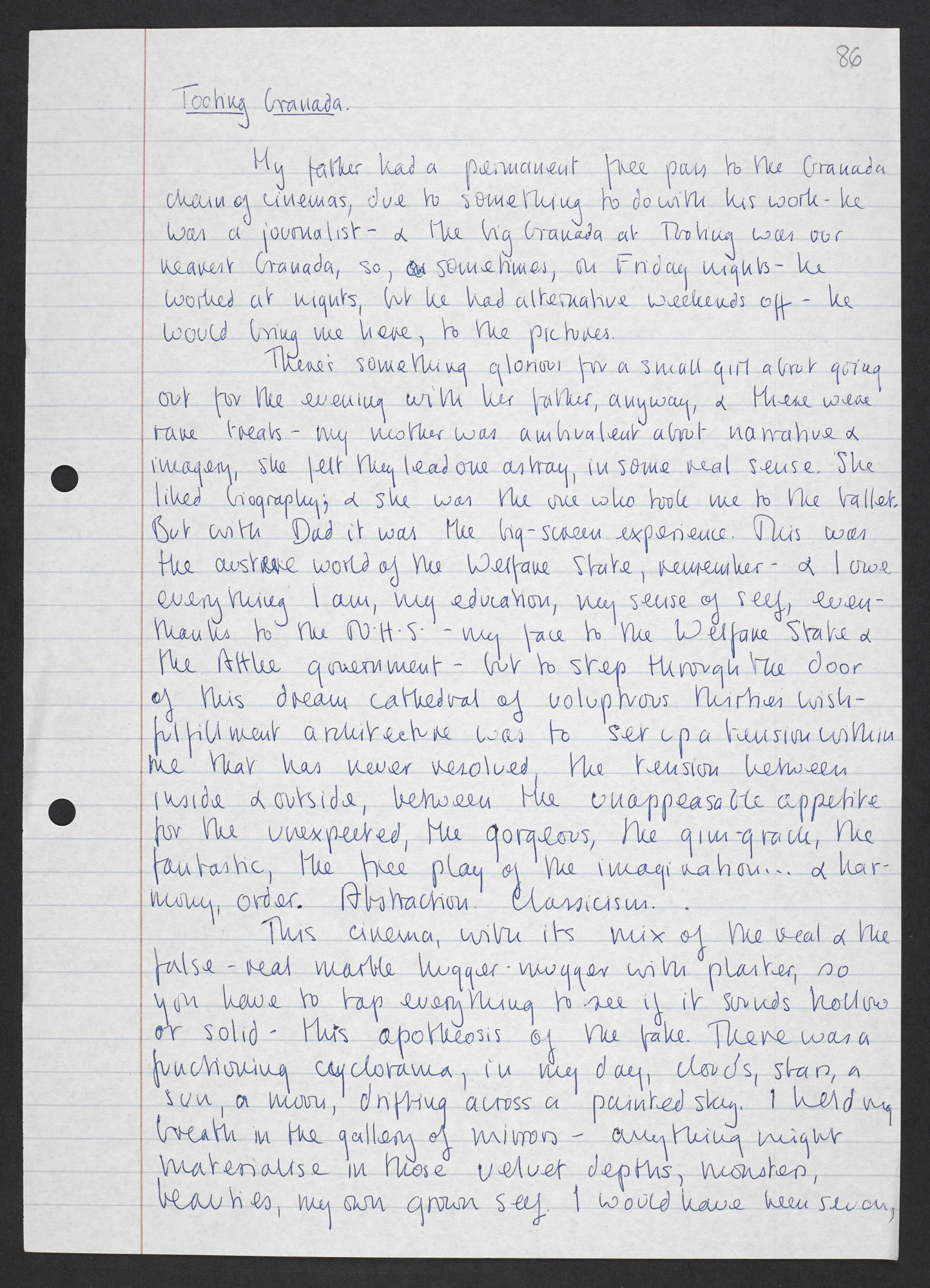 Manuscript notes about Tooting Granada cinema by Angela Carter