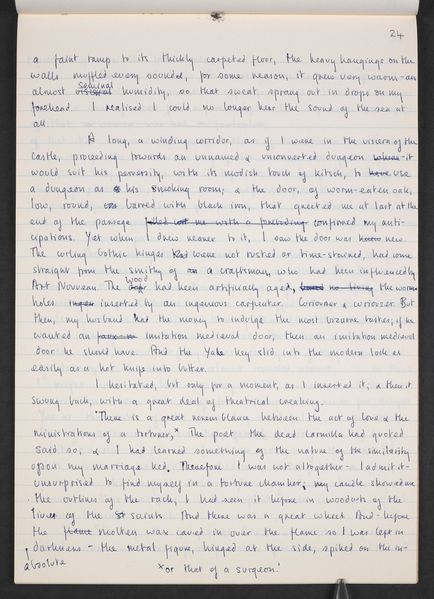 Manuscript notes and drafts of 'The Bloody Chamber' by Angela Carter