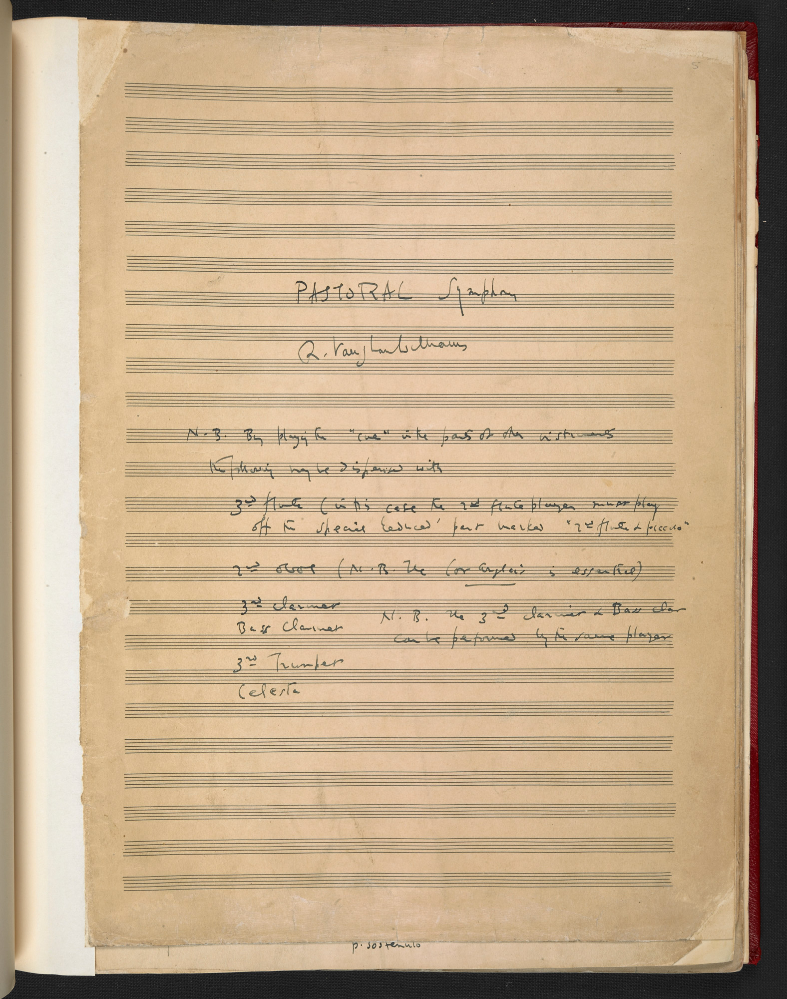 'Manuscript of 'A Pastoral Symphony' by Ralph Vaughan Williams
