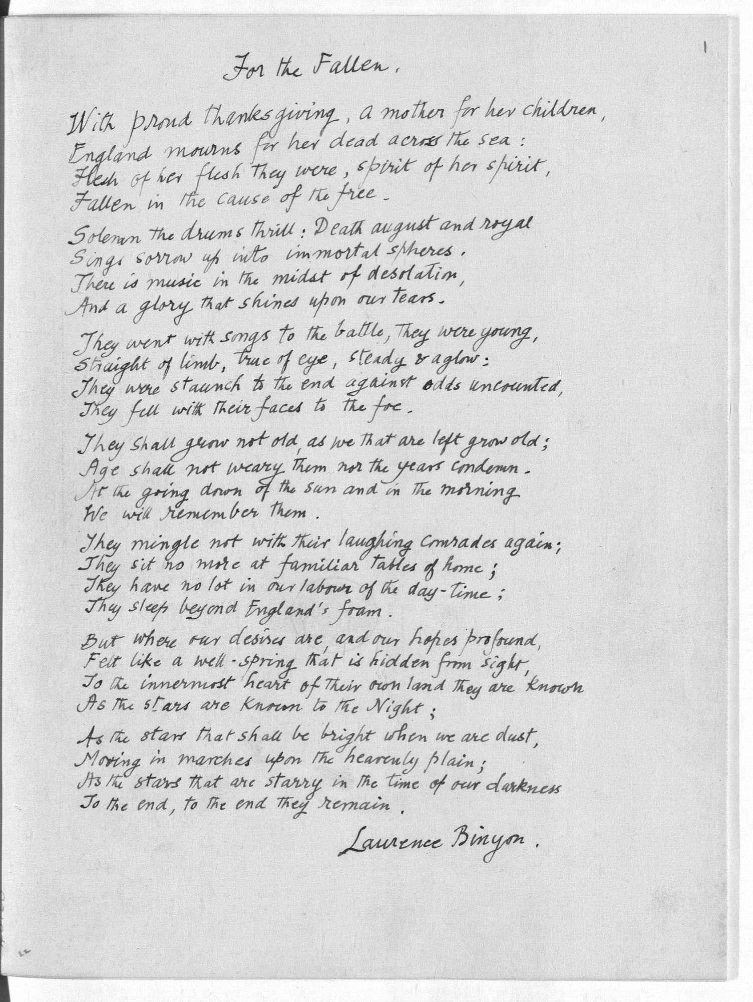 'Manuscript of 'For the Fallen' by Laurence Binyon
