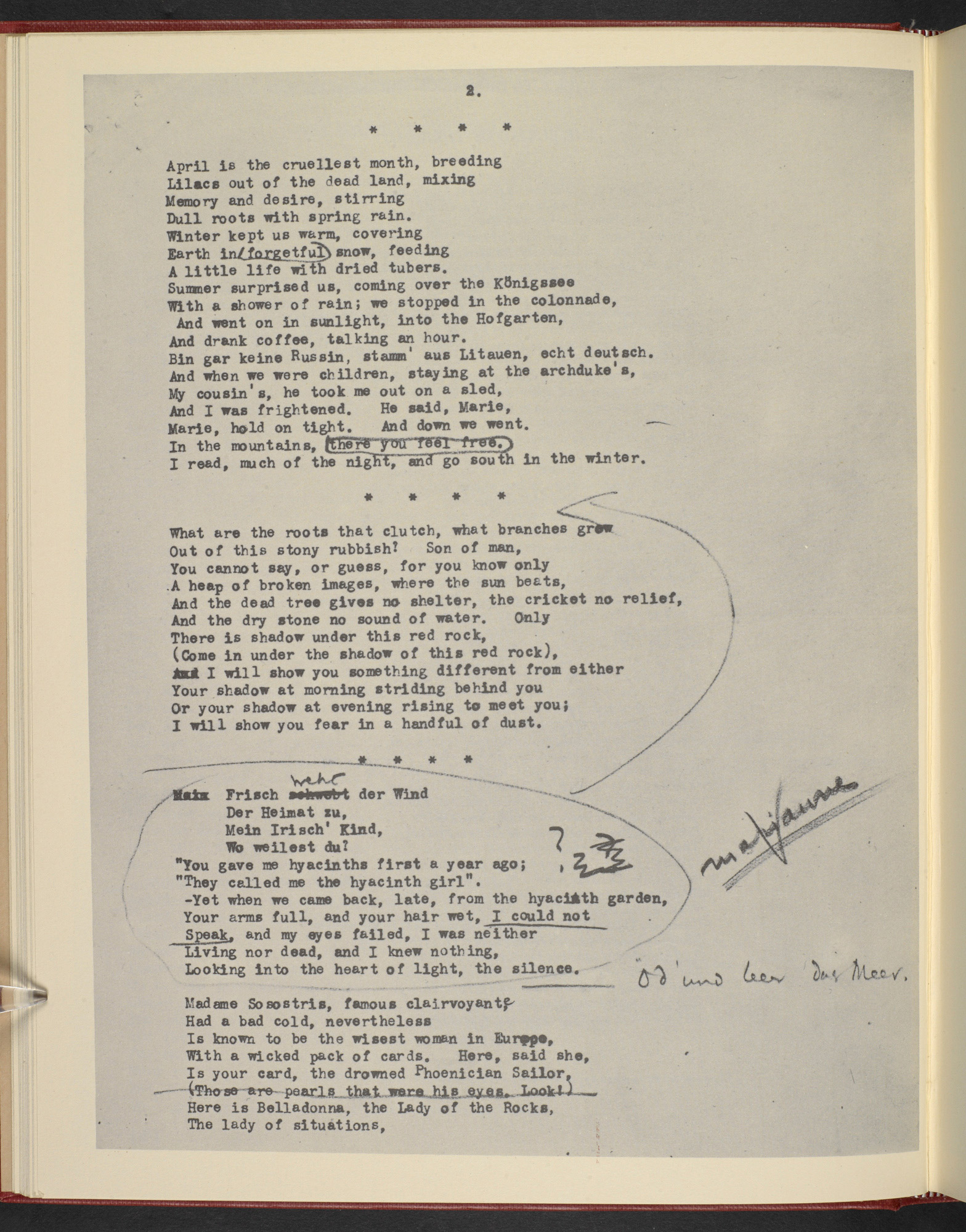Manuscript of T S Eliot's The Waste Land, with Ezra Pound's annotations