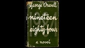 Green dust jacket printed with the text 'George Orwell Nineteen Eighty-Four a novel'