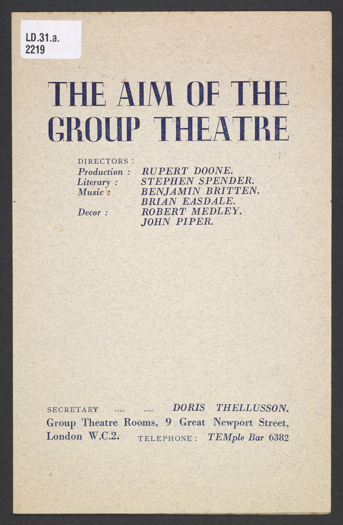 Pamphlet advertising the Group Theatre