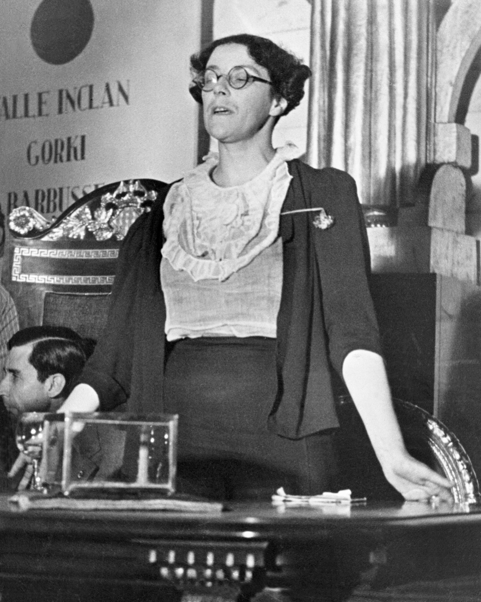 Photograph of Sylvia Townsend Warner at the International Congress of Writers by Gerda Taro