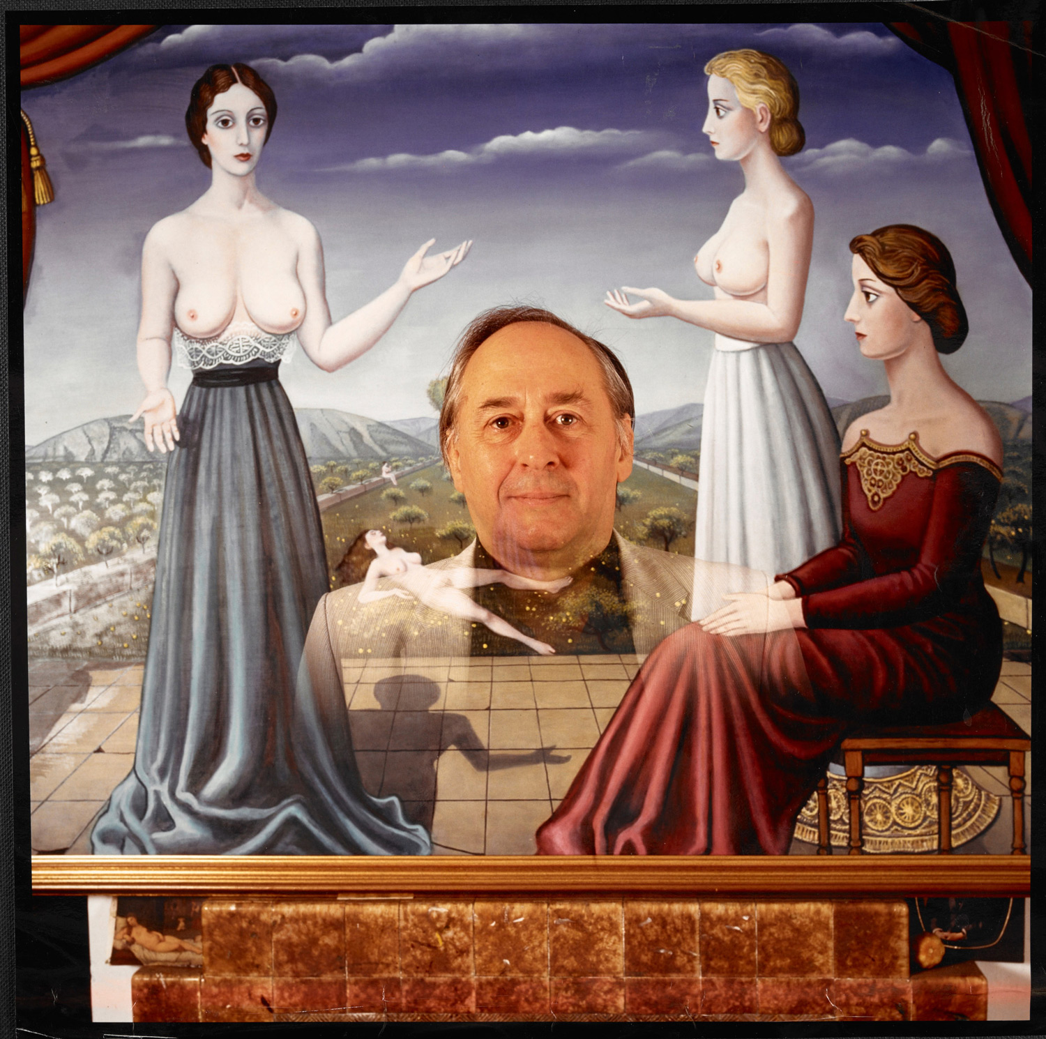 Photographs of J G Ballard with copies of Paul Delvaux's Surrealist paintings