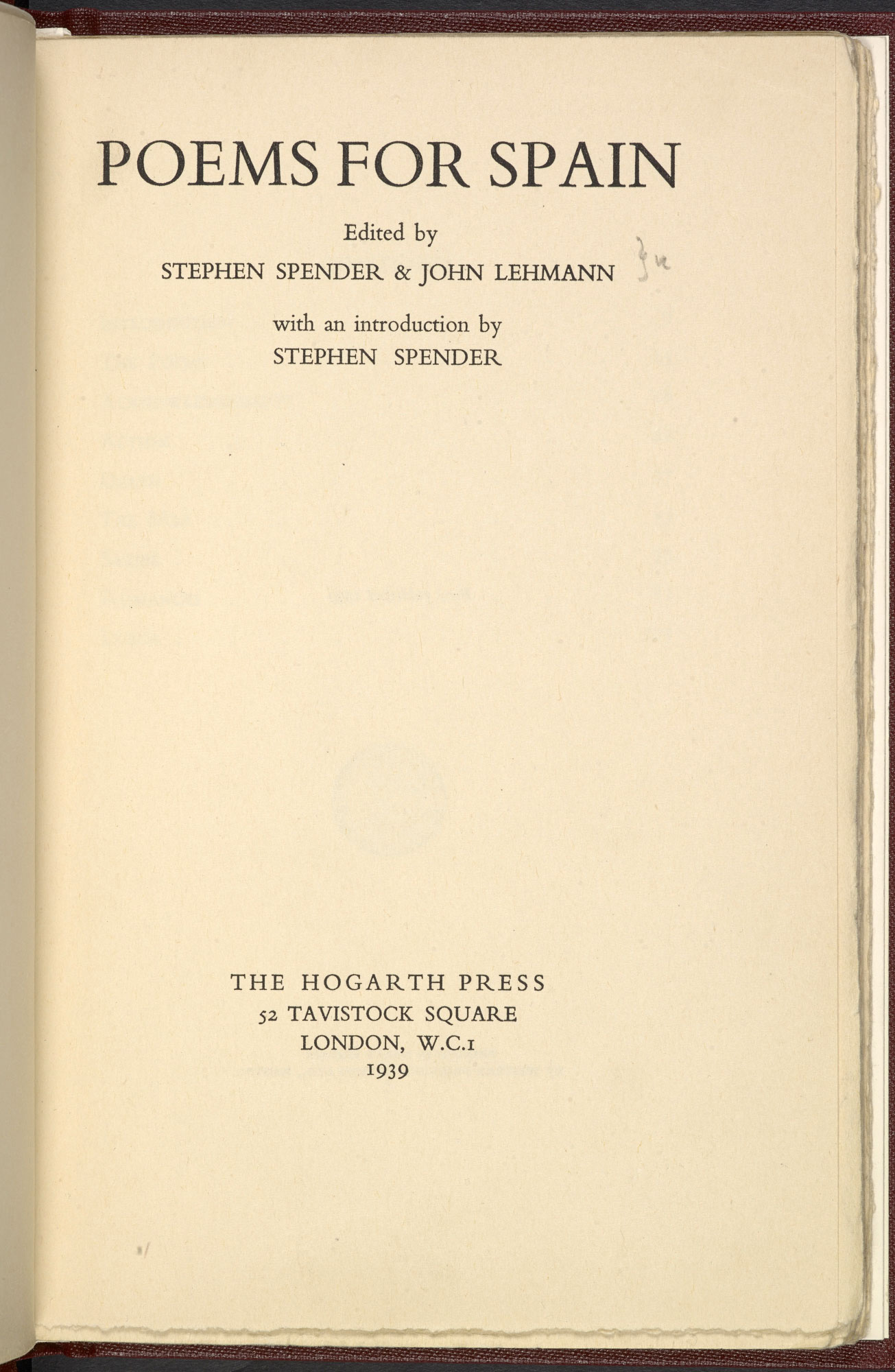 Poems for Spain, edited by Stephen Spender and John Lehman