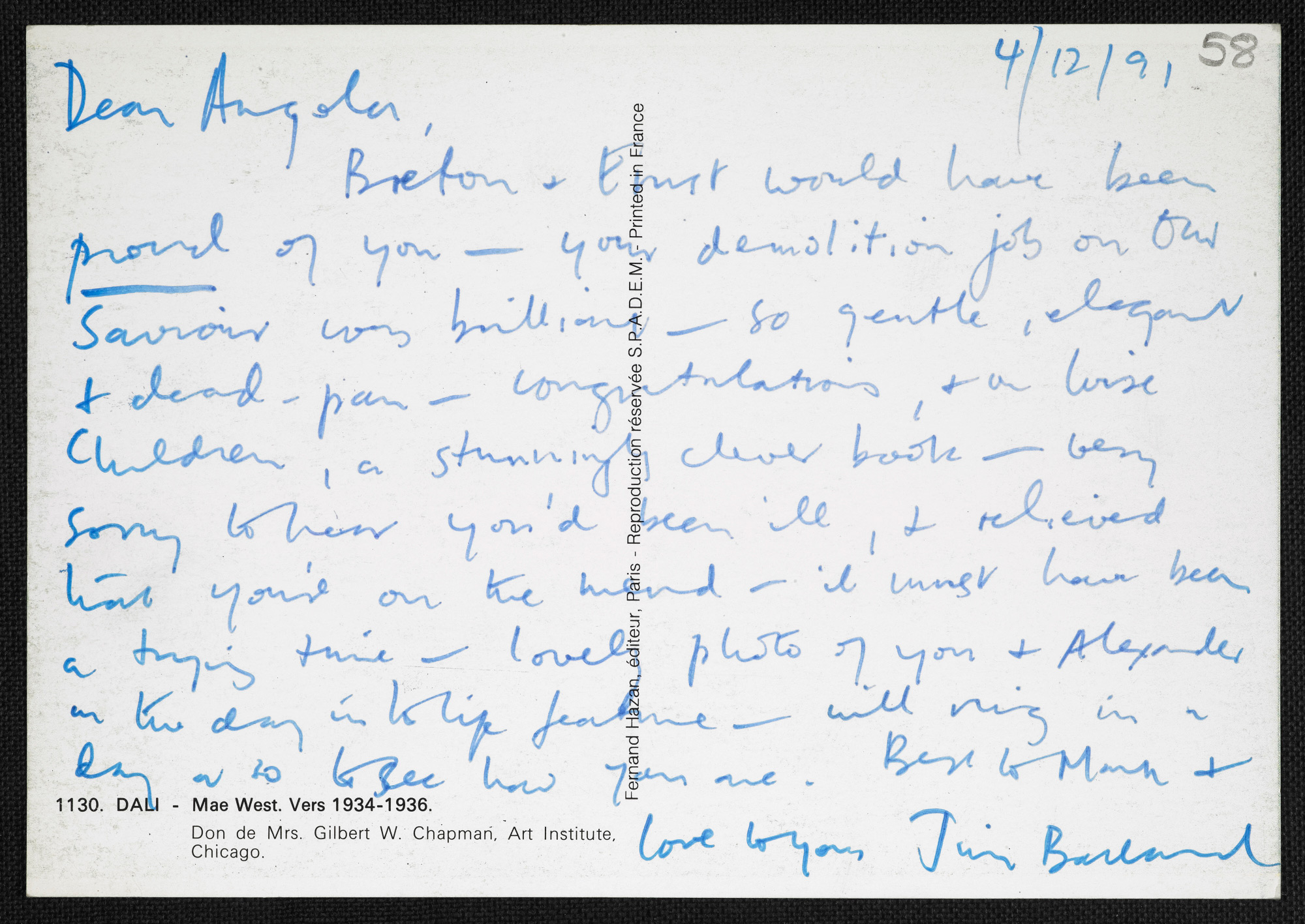 Postcard from J G Ballard to Angela Carter, 4 December 1991