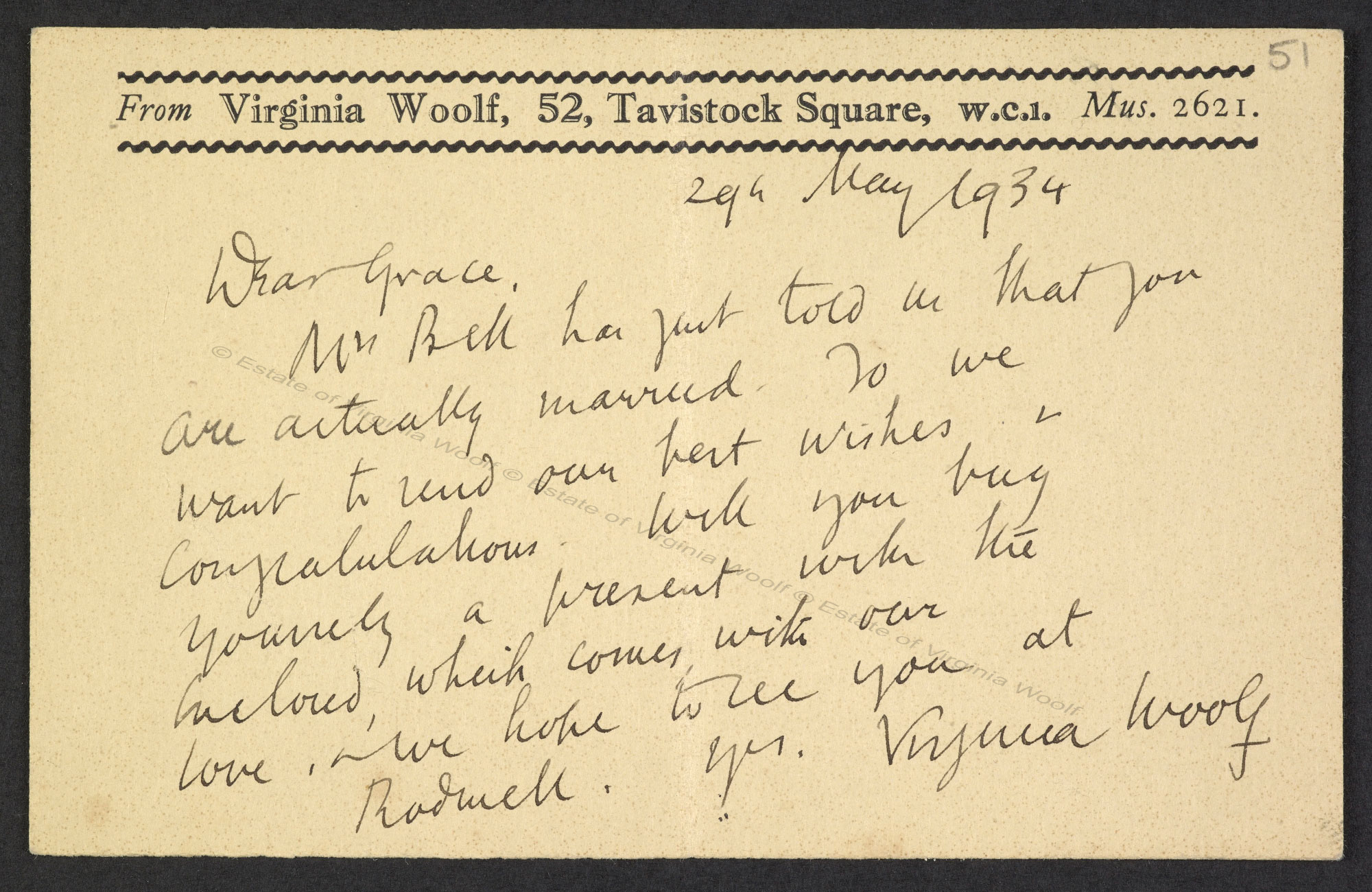 Postcards from Virginia Woolf to Grace Higgens, 1930s