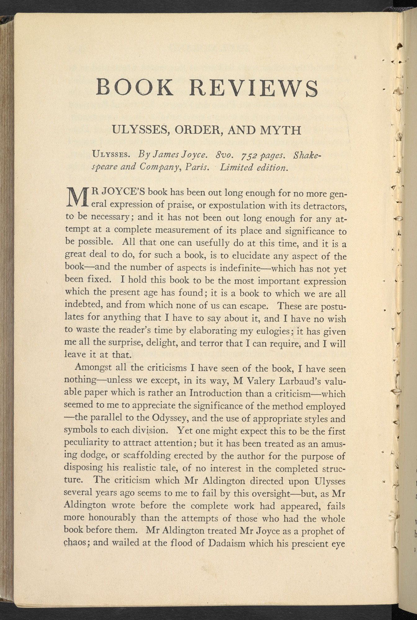 Review of Ulysses by T S Eliot, from The Dial
