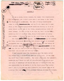 Pale pink page from the typescript second draft of The Bell Jar, with her handwritten notes and crossings out