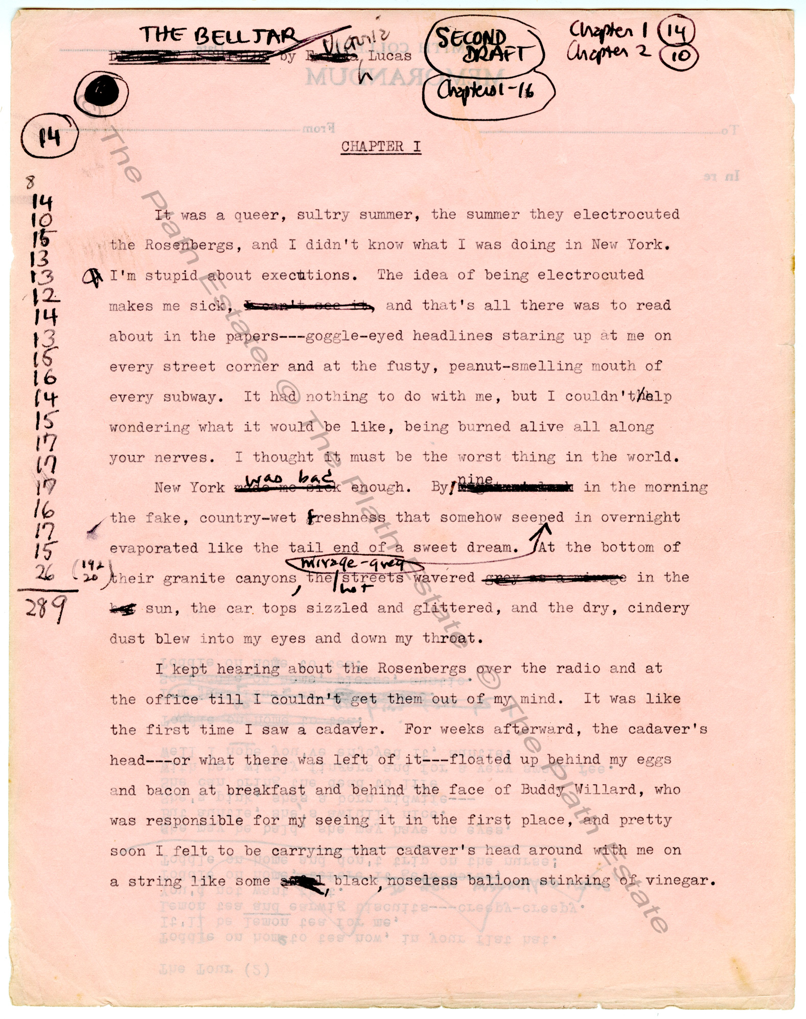 Typescript second draft of The Bell Jar by Sylvia Plath