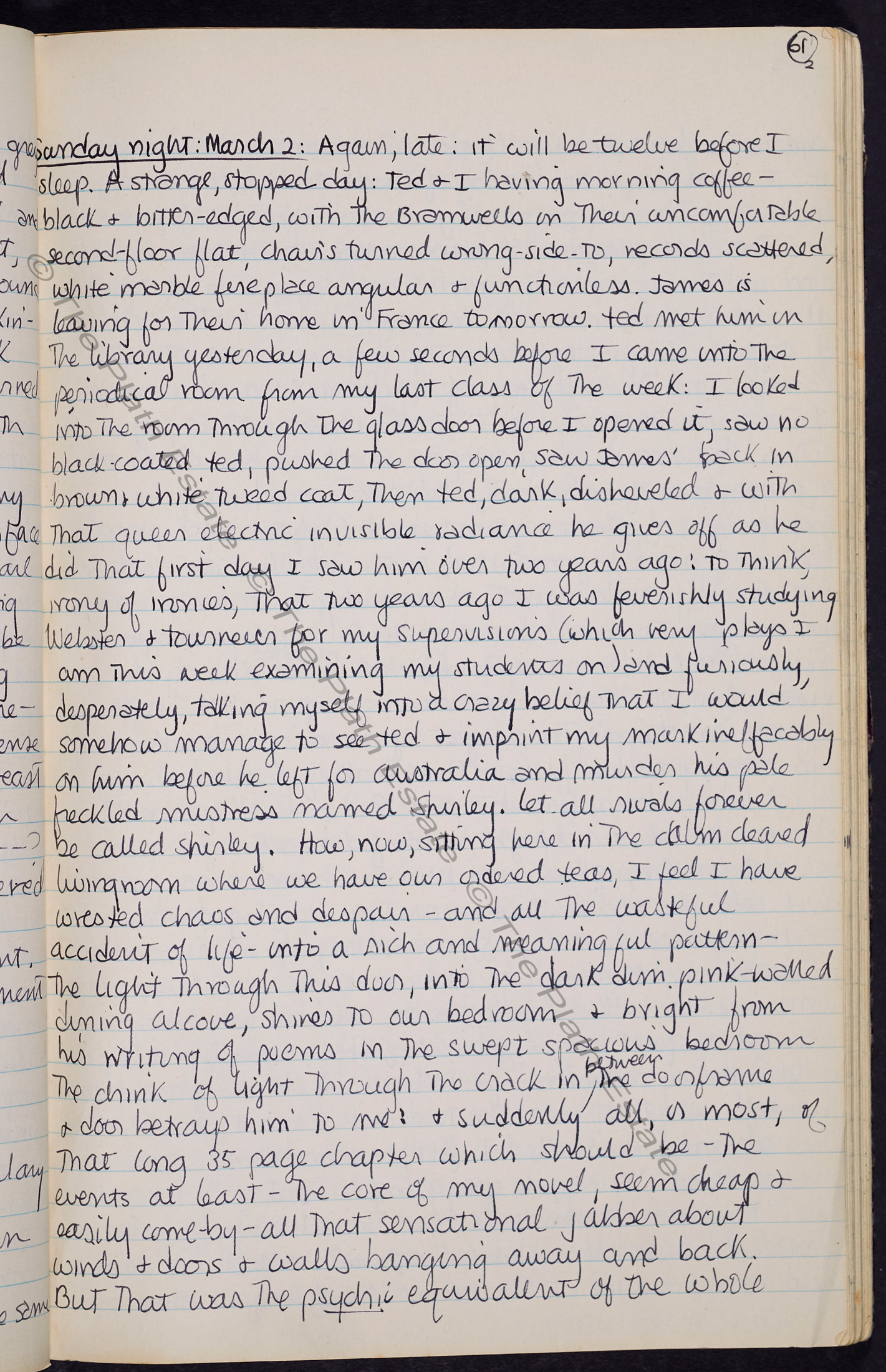 Sylvia Plath's journal, 2 March 1958