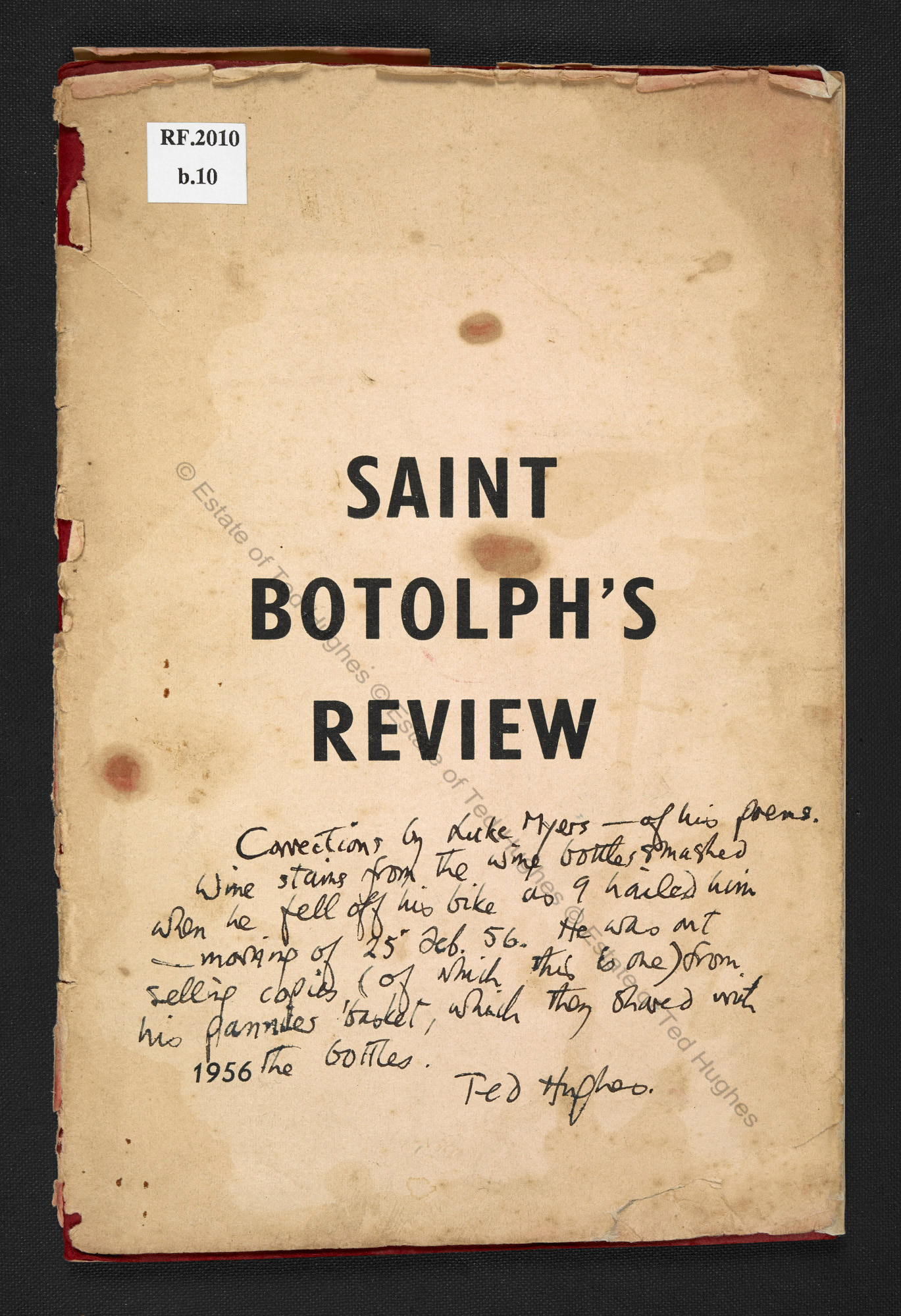Saint Botolph's Review, with annotations in Ted Hughes' and Lucas Myers' hand