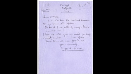 Siegfried Sassoon's statement of protest against the war, and related letters