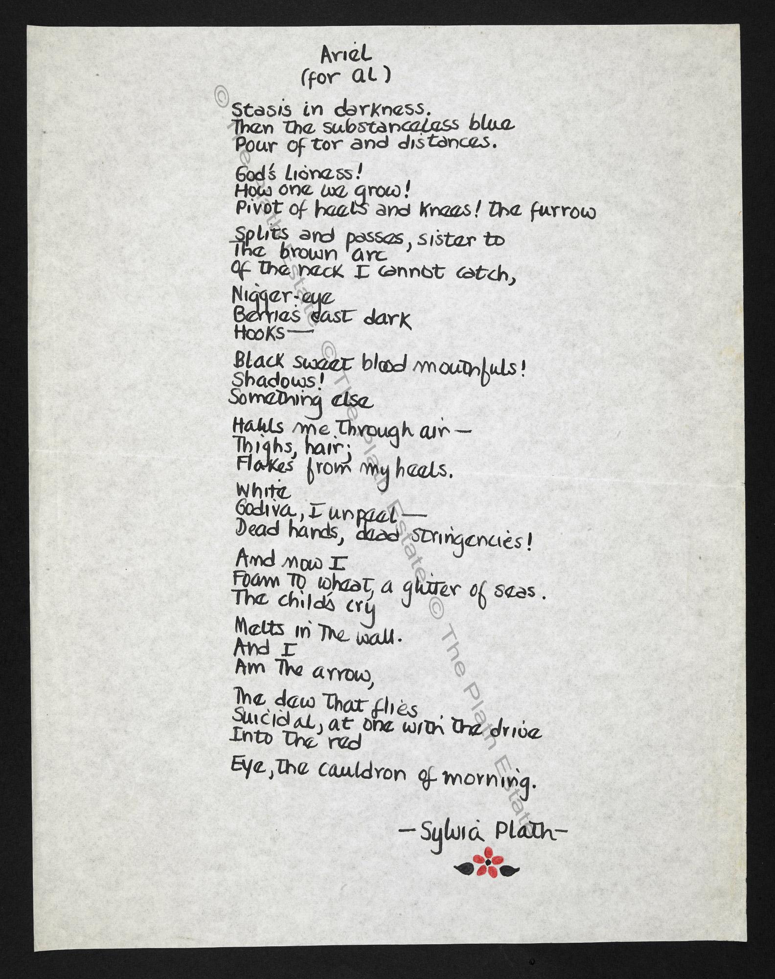 Sylvia Plath's 'Ariel', dedicated to Al Alvarez
