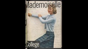 Front cover to Mademoiselle magazine, subtitled 'a magazine for smart young women', featuring a photograph of a white blonde woman in cardigan and tartan skirt