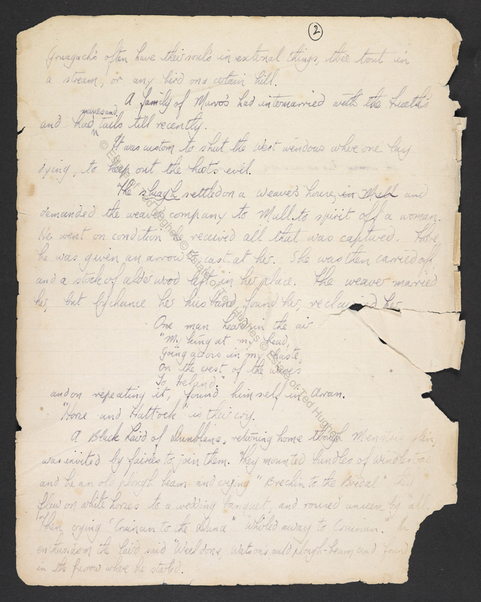 Ted Hughes's early research notes, on topics including folklore