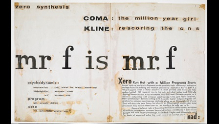 Sheet of paper containing collaged printed text, with the phrase 'mr f is mr f' in the middle