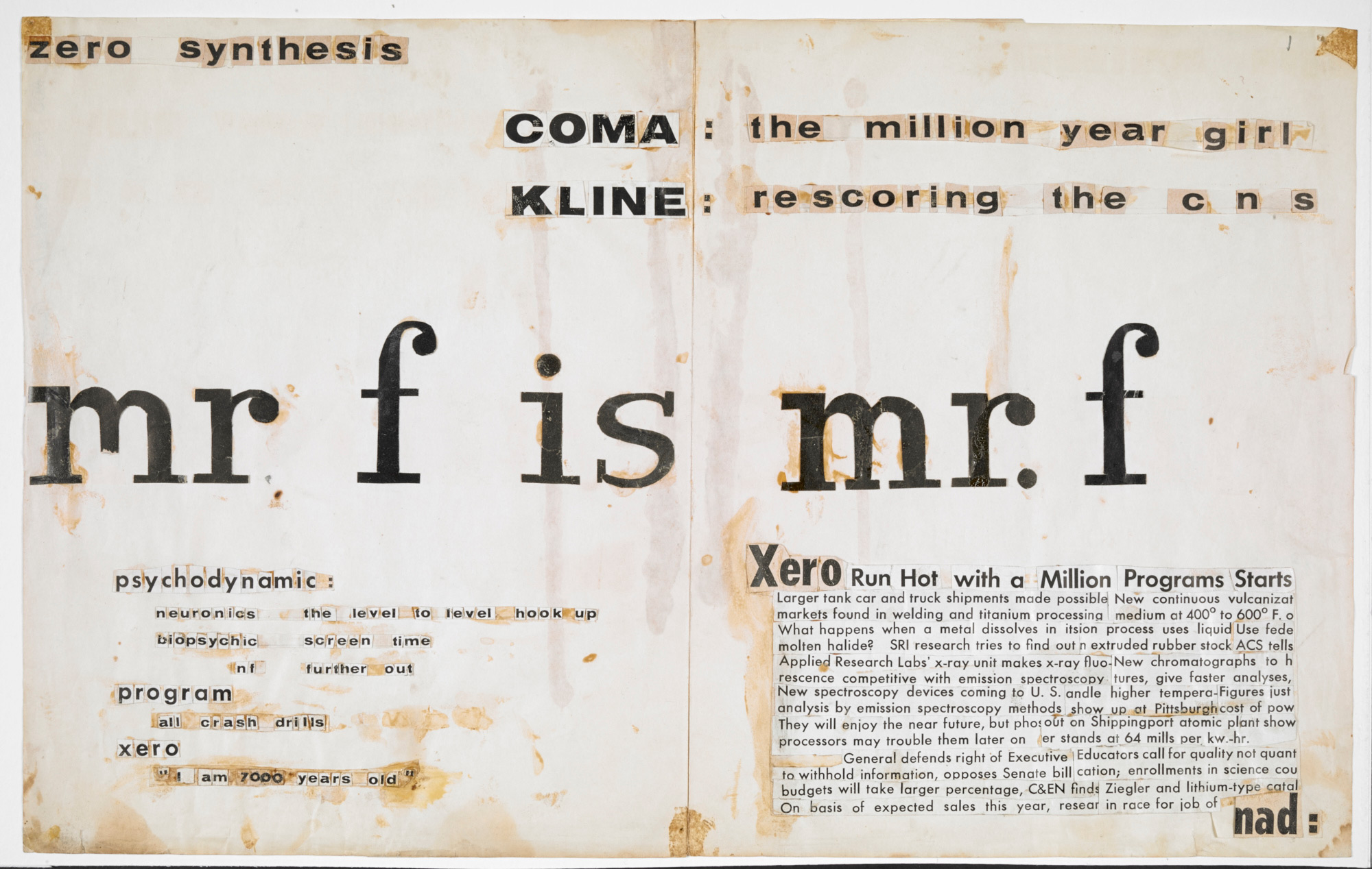 Text collages by J G Ballard, c. 1958